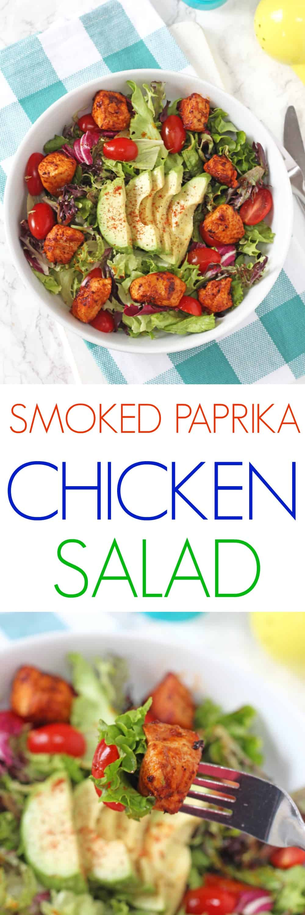 A simple but super delicious recipe for Smoked Paprika Chicken Salad. So quick and easy to whip for lunch for busy parents!