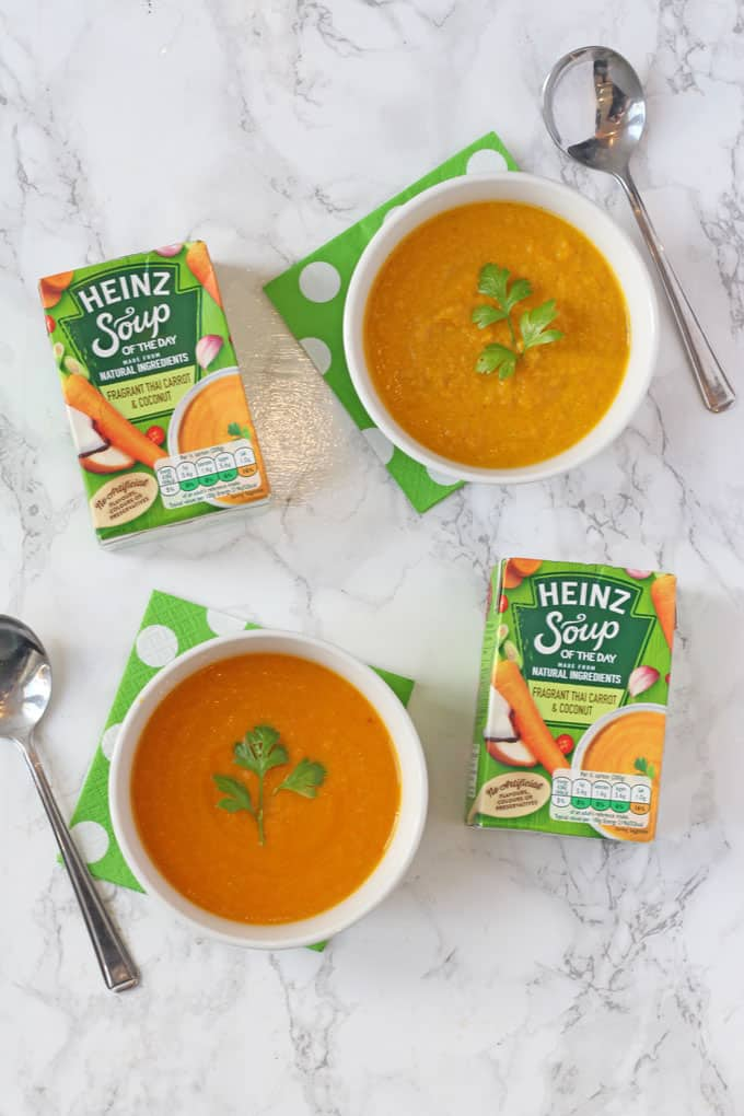 Fragrant Thai Carrot & Coconut Soup made with the exact ingredients in Heinz Soup Of The Day