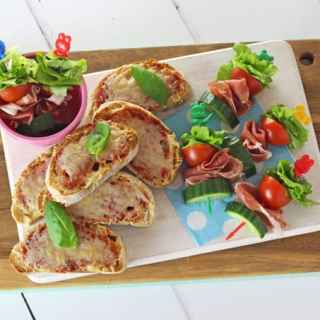 Salad Skewers with Prosciutto di San Daniele and Grana Padano Cheese Toasties