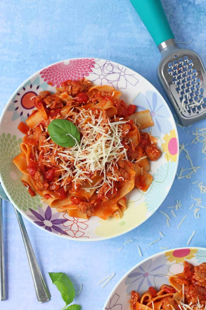 A quick, easy but super delicious recipe for Sausage Meat Ragu. This simple meal has fast become a favourite in my family and I think you will love it too!