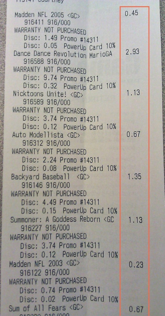 Proof that I bought cheap games Gamestop's GC Clearance Sale Gamestop's GC Clearance Sale GC Sale Reciept 537x1024