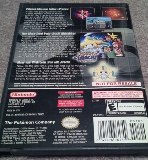 Not for Resale Forgotten Relics: Pokemon Colosseum Bonus Disc (GC) FORGOTTEN RELICS – Pokemon Colosseum Bonus Disc (GC) Pokemon Colosseum Back of BOx 947x1024
