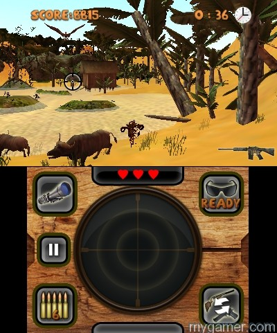 There is an option to switch guns on the fly Outdoors Unleashed: Africa 3D (3DS eShop) Review Outdoors Unleashed: Africa 3D (3DS eShop) Review Outdoors Unleashed Africa 3D 2