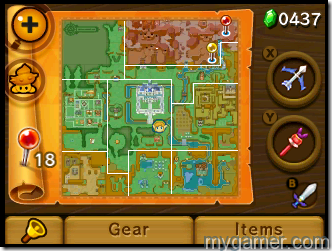 The map screen is well designed The Legend of Zelda: A Link Between Worlds 3DS Review The Legend of Zelda: A Link Between Worlds 3DS Review Zelda Menu