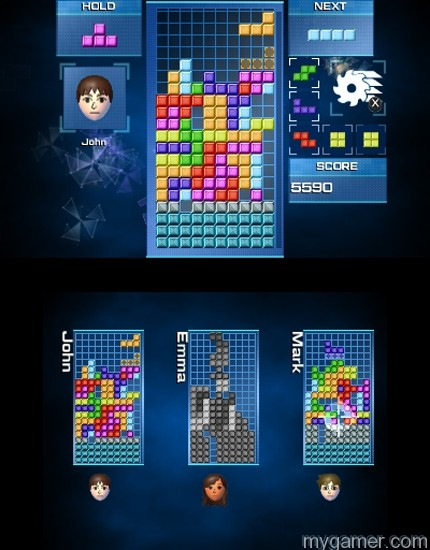 The buzz saw cuts through random lines in multiplayer Tetris Ultimate 3DS Review Tetris Ultimate 3DS Review TU 3DS Multiplayer PowerUp1 1415817632