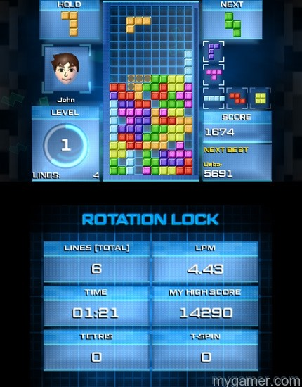 Rotation lock requires forward thinking Tetris Ultimate 3DS Review Tetris Ultimate 3DS Review TU 3DS Rotation Lock 2 1415817657