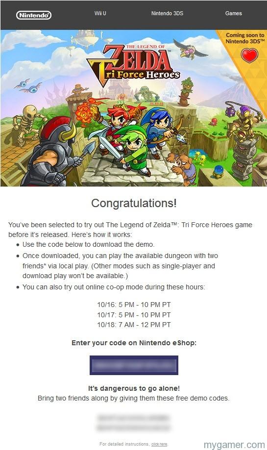 Zelda TriForce Heros Demo Code Pic