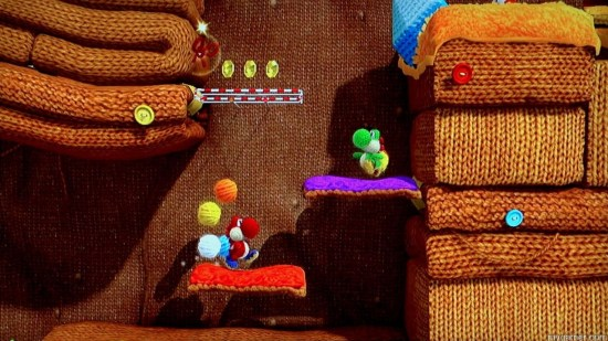 Some stages, like this one, have a heavy emphasis on puzzle solving vs action platforming Yoshi's Woolly World Wii U Review Yoshi's Woolly World Wii U Review Yoshi Woolly World platforming