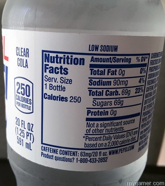 69g of sugar = diabetus in a bottle Gamer's Gullet – Crystal Pepsi 2016 Review Gamer's Gullet – Crystal Pepsi 2016 Review Crystal Pepsi Nutrition Facts