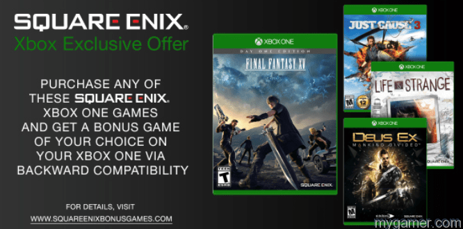 Buy A Qualifying SquareEnix Game on Xbox One, Get a Free Backwards Compatible 360 Game Buy A Qualifying SquareEnix Game on Xbox One, Get a Free Backwards Compatible 360 Game SquareEnix Bonus Game1