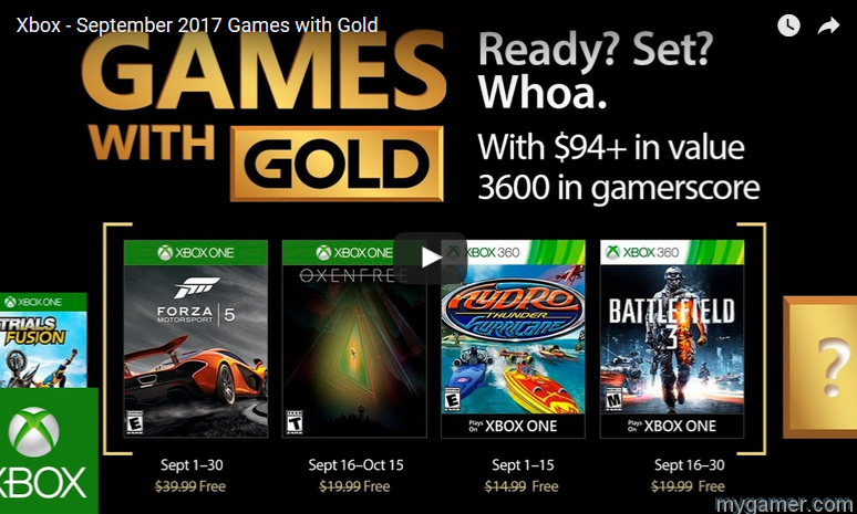 Xbox Games Gold Sept 2017