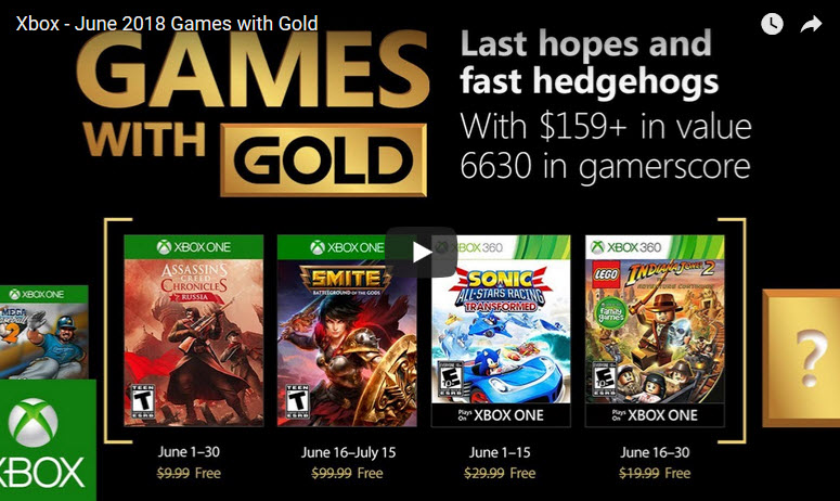 Games with Gold Xbox June 2018