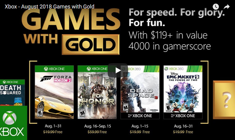 Xbox Games with Gold Aug 2018