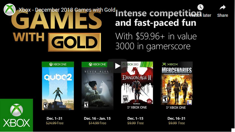 Xbox Games with Gold Dec 2018