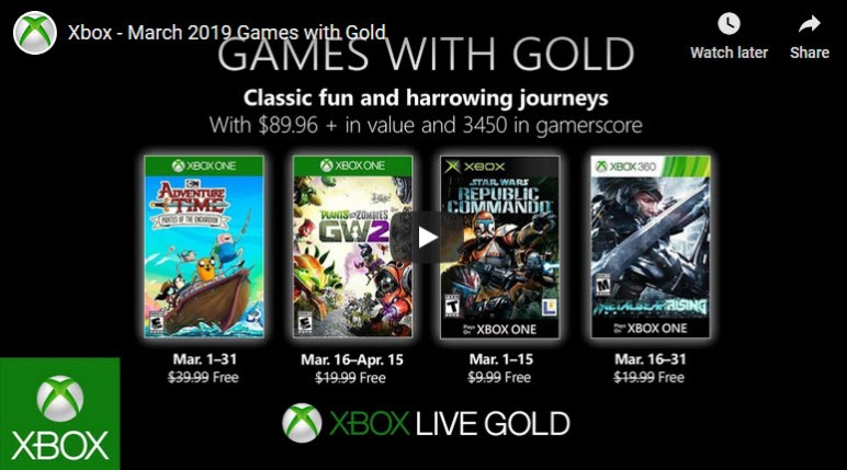 xbox live games with gold for march 2019 Xbox Live Games With Gold For March 2019 Xbox games with gold March 2019