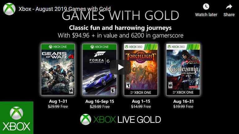 Xbox Games with Gold Aug 2019