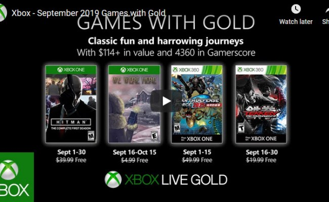 Xbox Live Games With Gold For September 2019