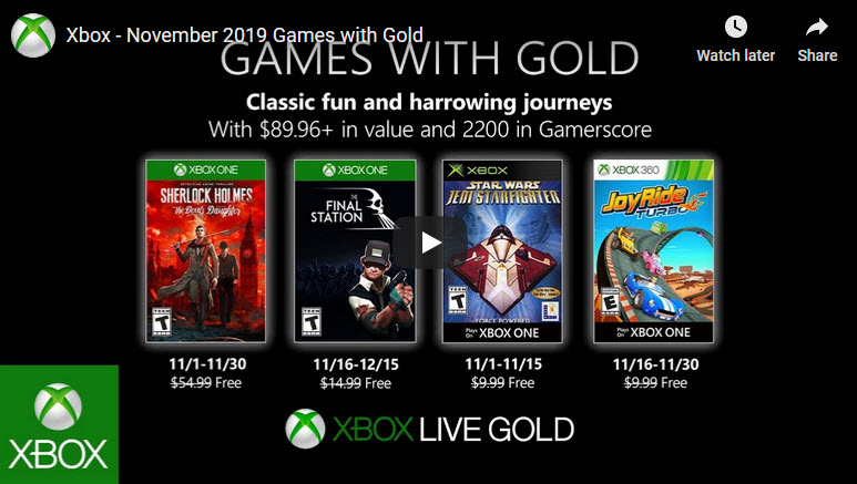 Xbox games with gold Nov 2019