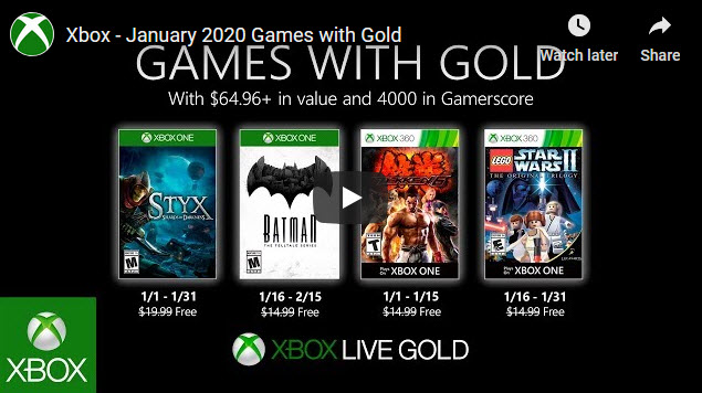 Xbox games with gold Jan 2020