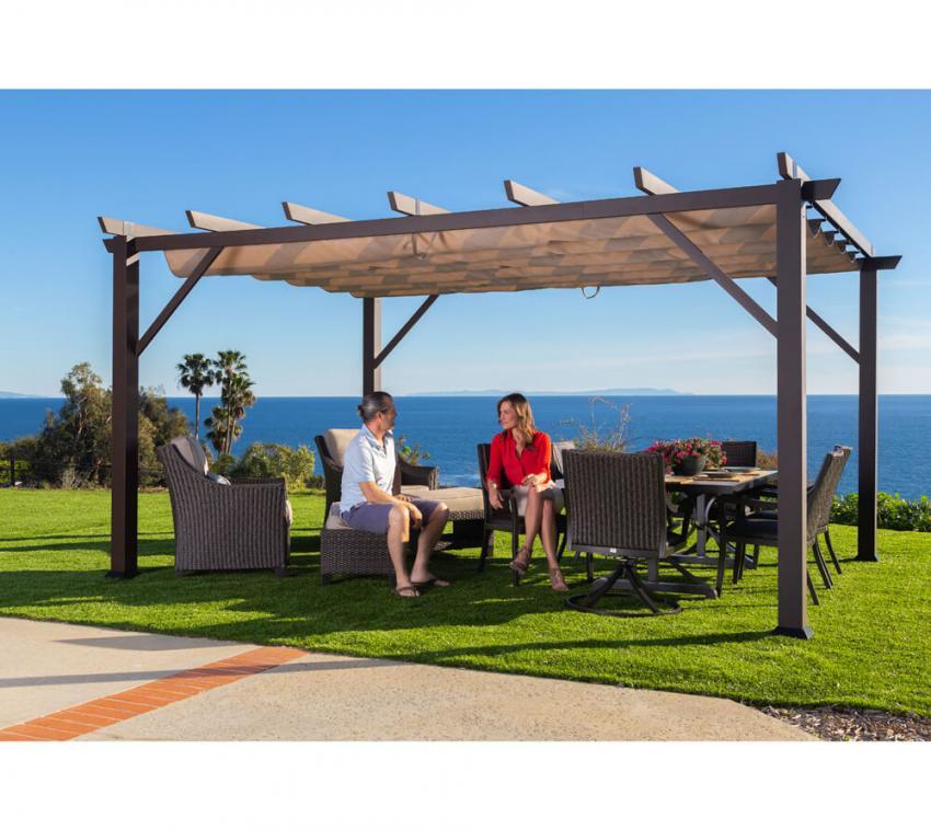 paragon outdoor aluminium pavillon gazebo modena 12x16 espresso 360x480 cm