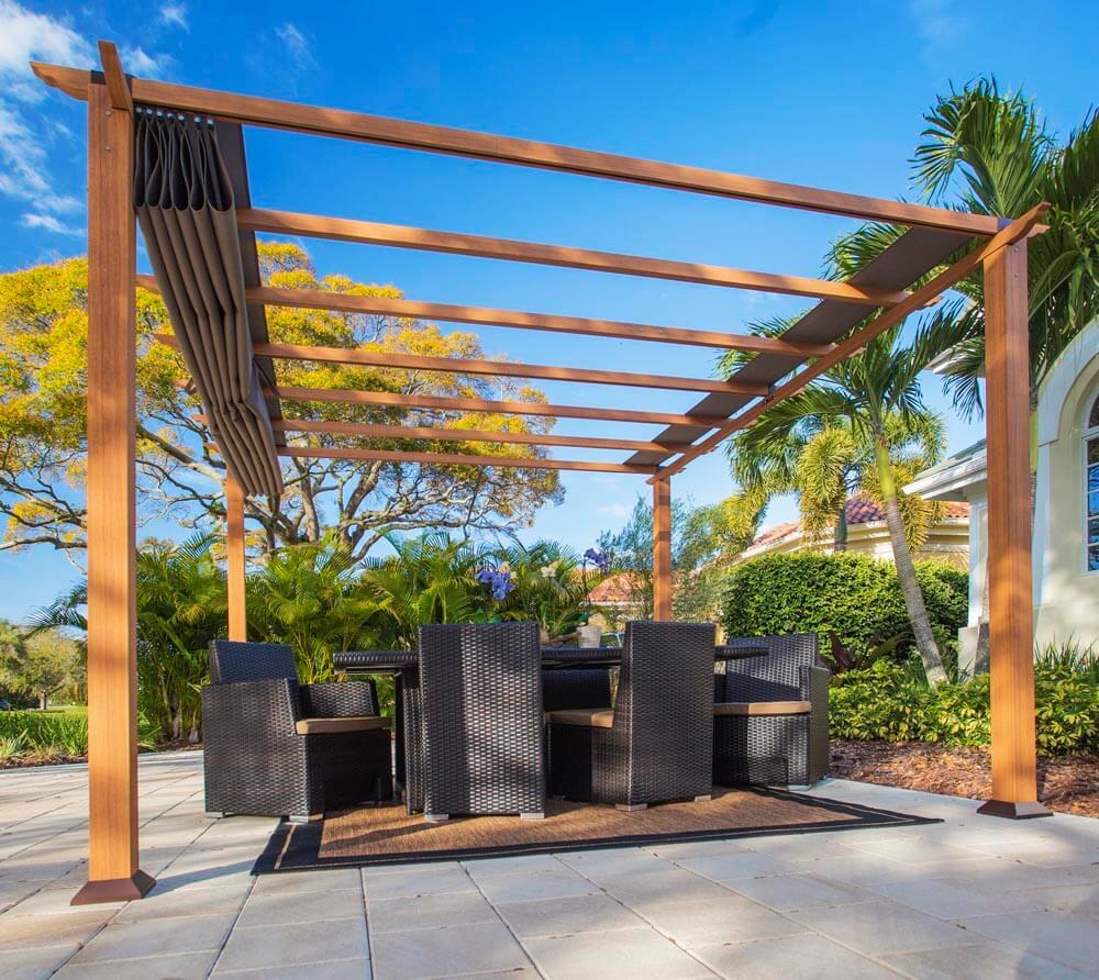 paragon outdoor aluminium pavillon gazebo florida hellbraun 350x350 cm