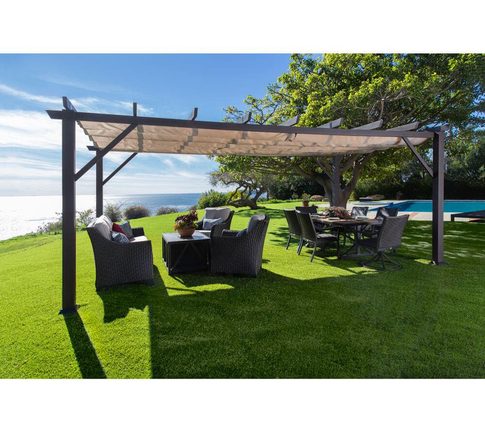 paragon outdoor aluminium pavillon gazebo modena 12x20 espresso 360x623 cm