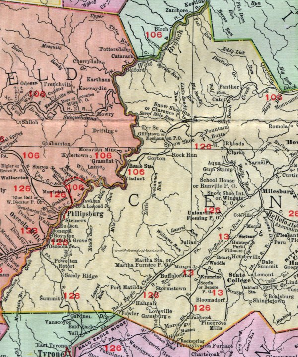 Centre County Pennsylvania 1911 Map by Rand McNally