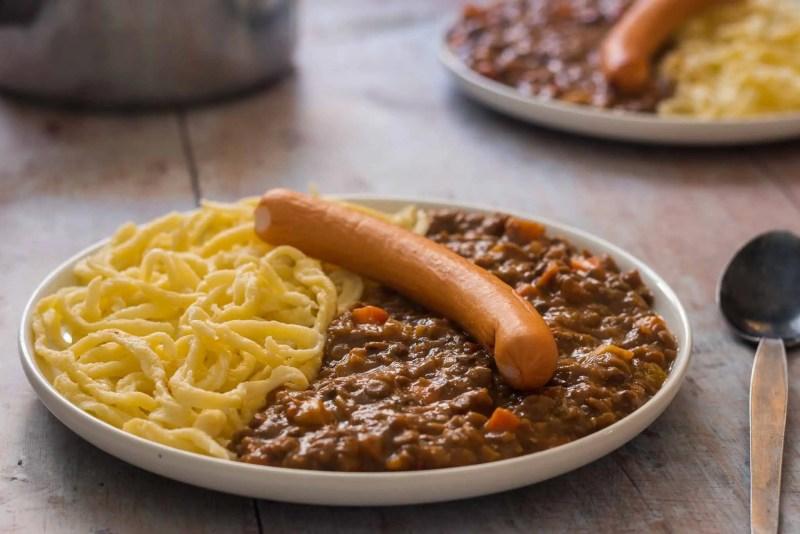 Lentil stew with spaetzle