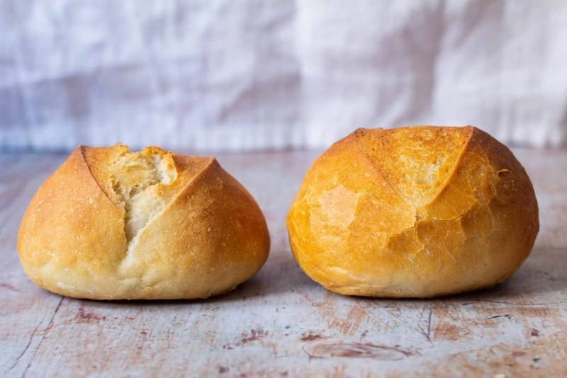 Bread roll with and without dough improver