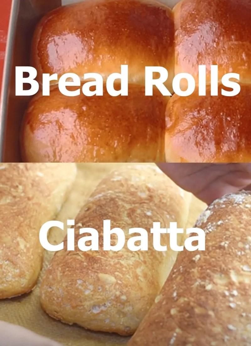 dinner rolls and ciabatta