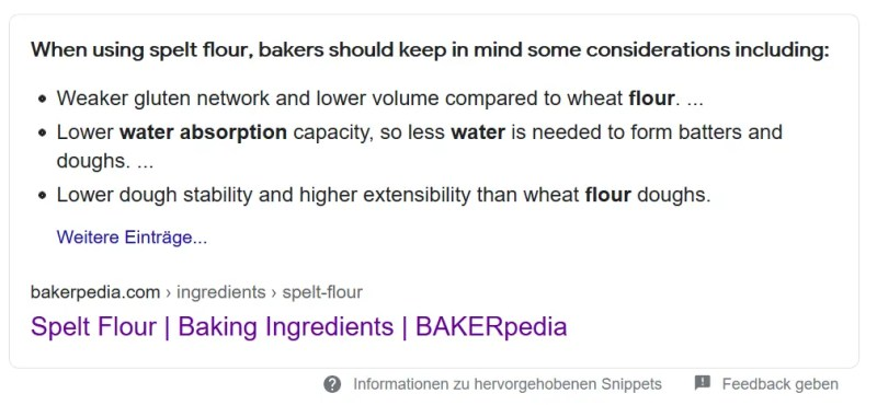 Google search result for water absorption of spelt flour