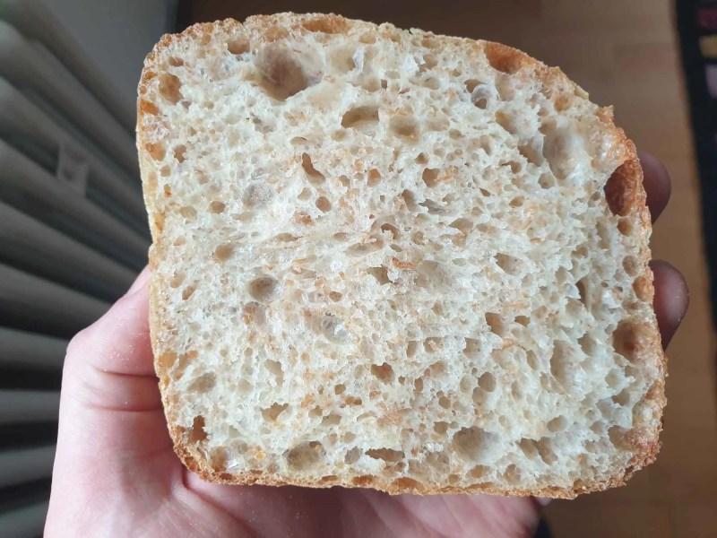 Open crumb of whole grain ciabatta rolls
