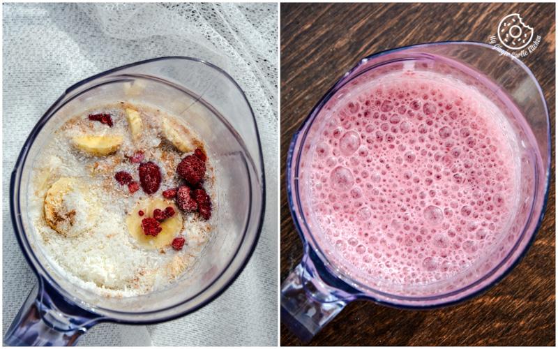 recipe-banana-raspberry-coconut-smoothie with-tiramisu-chocolate|mygingergarlickitchen.com/ @anupama_dreams