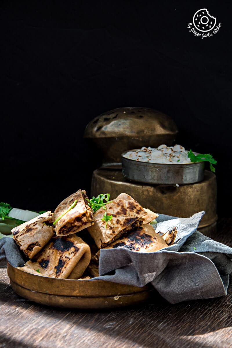 Rajma Tofu Paratha Pockets With Boondi Raita | mygingergarlickitchen.com/ @anupama_dreams