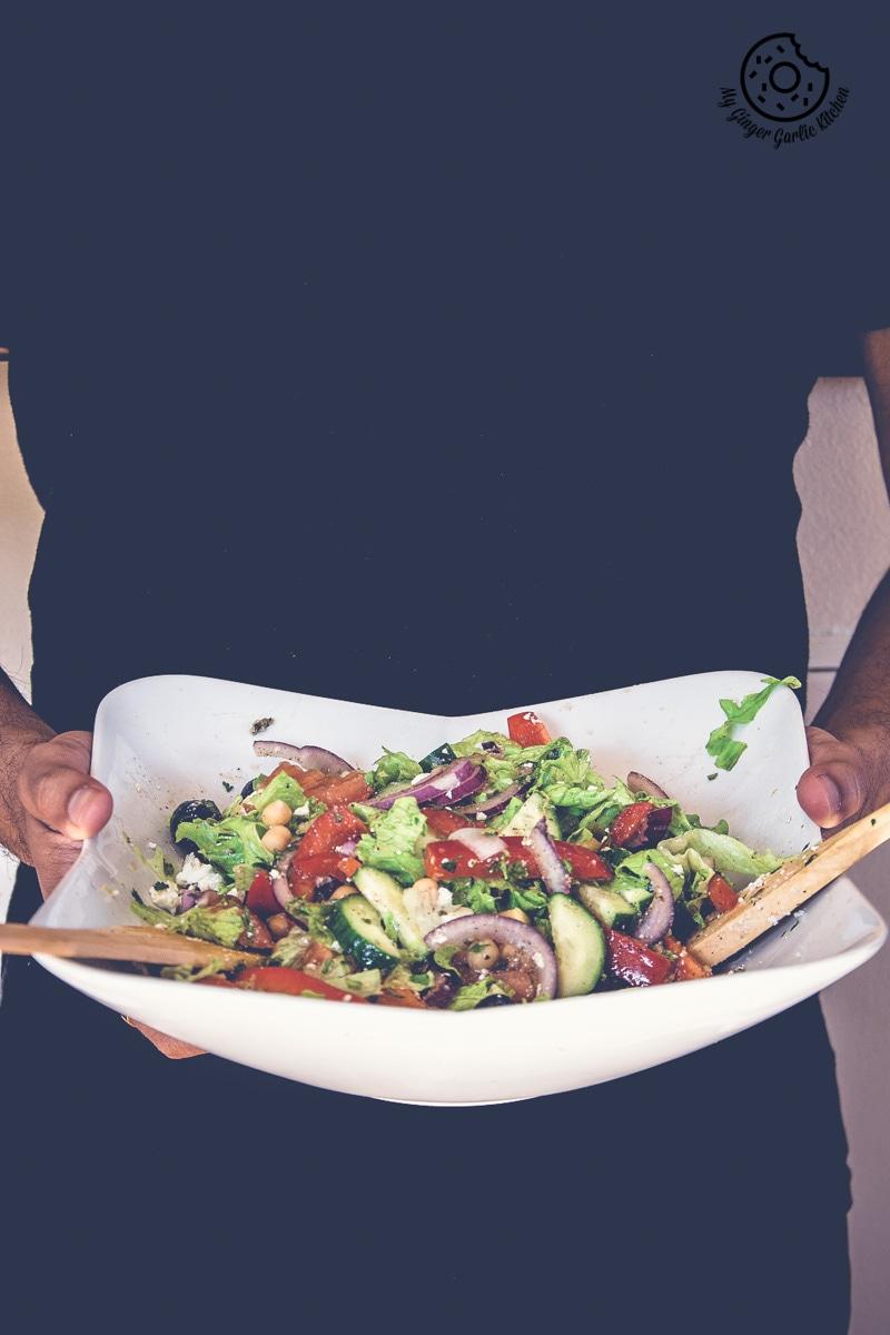 Chickpea Feta Greek Salad With Lemon Garlic Dressing | mygingergarlickitchen.com/ @anupama_dreams