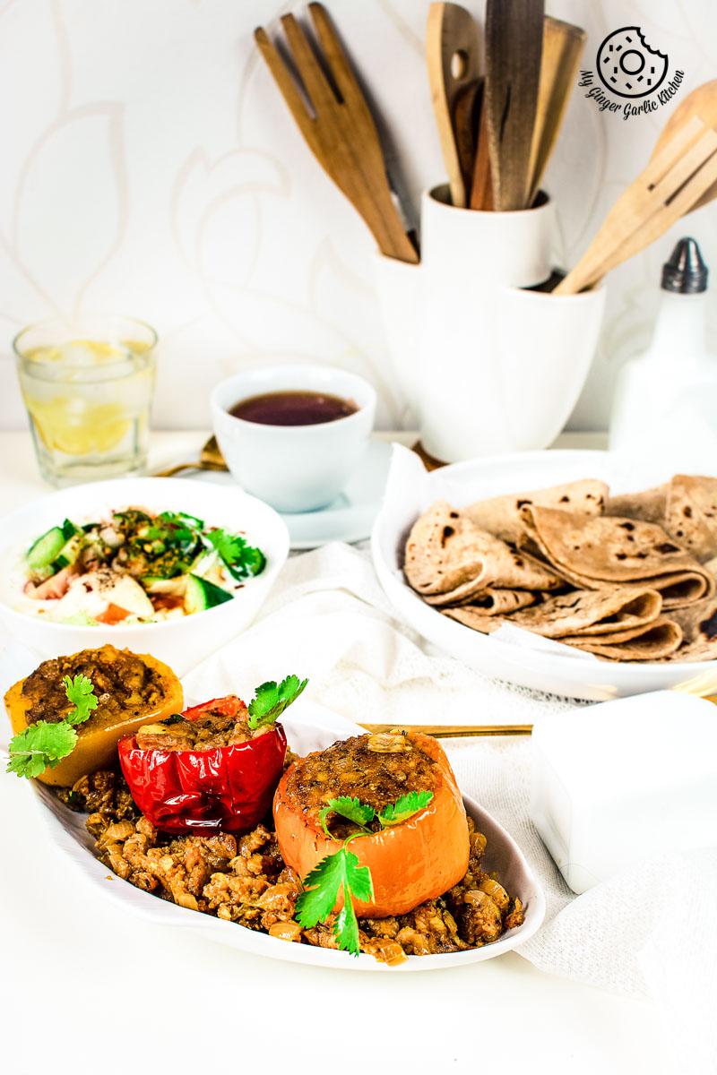 | mygingergarlickitchen.com/ @anupama_dreamsBharwa Shimla Mirch Recipe | Stuffed Bell Peppers | Stuffed Capsicum