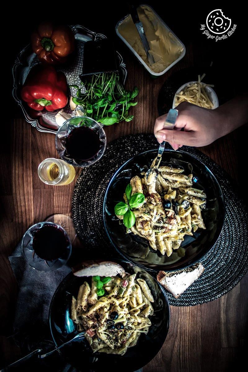 White Sauce Pasta Recipe | mygingergarlickitchen.com/ @anupama_dreamsCreamy & Cheesy White Pasta |