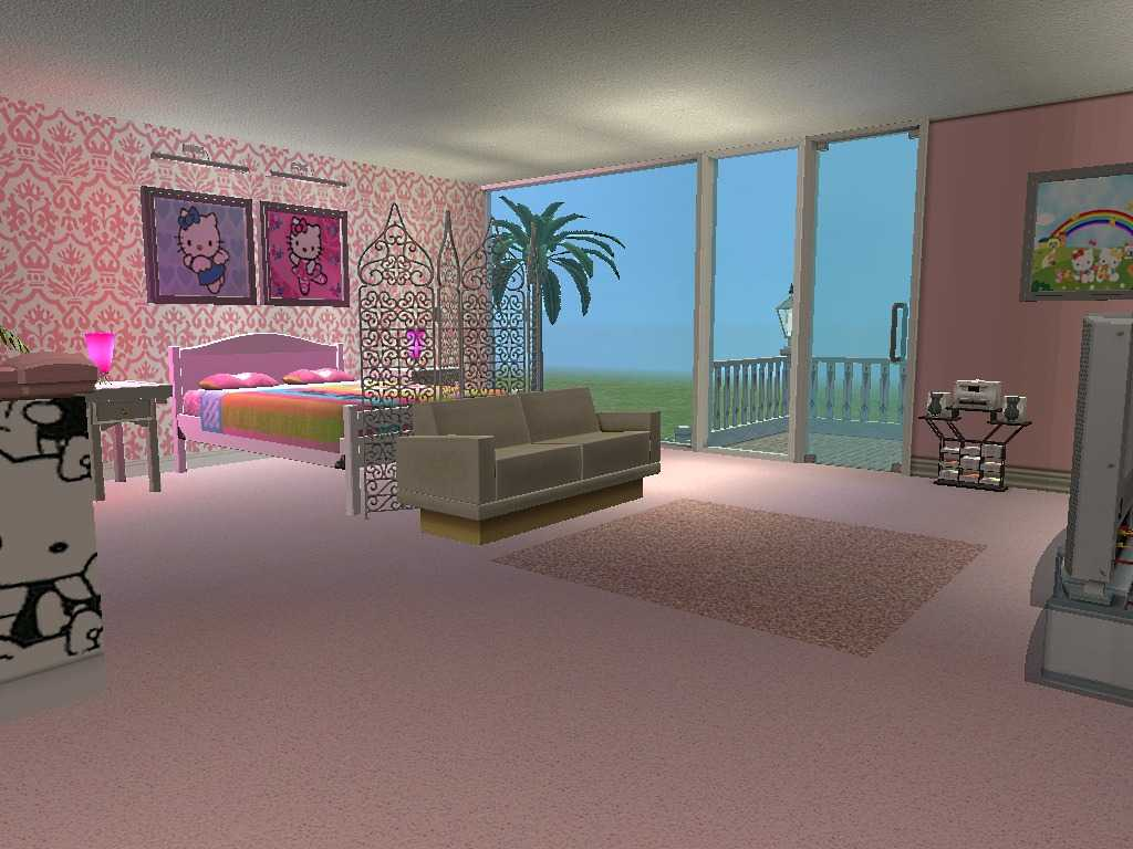 Hello Kitty Bedroom With Damask Wallpaper
