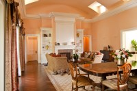 Peach Living Room with Arched Ceiling - Room Decor and Design