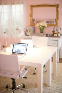 Pink Office with Gilded Mirror - Room Decor and Design