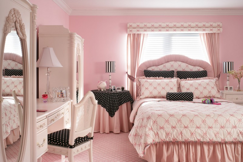 Pink Room with Black and White Polka Dots  Room Decor and