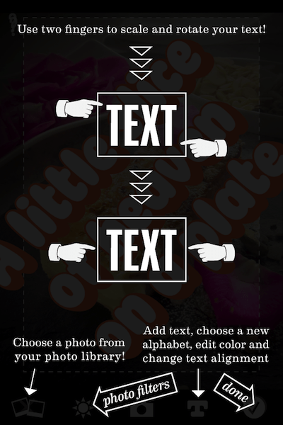 A tutorial screen in Photolettering