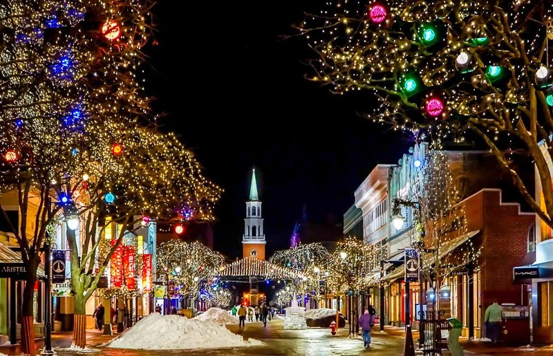 In December, Church Street is decked out for the Holidays.
