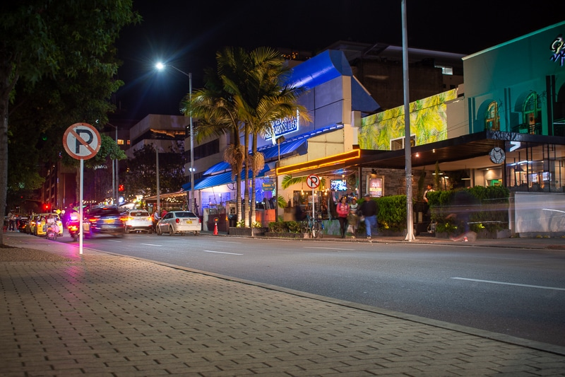 Parque 93 is a popular place for shopping and dining in the Chicó neighborhood of Bogotá.