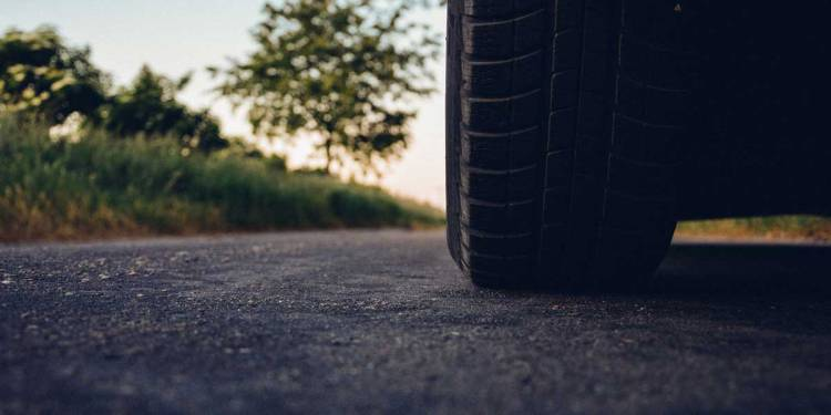 car tire on road