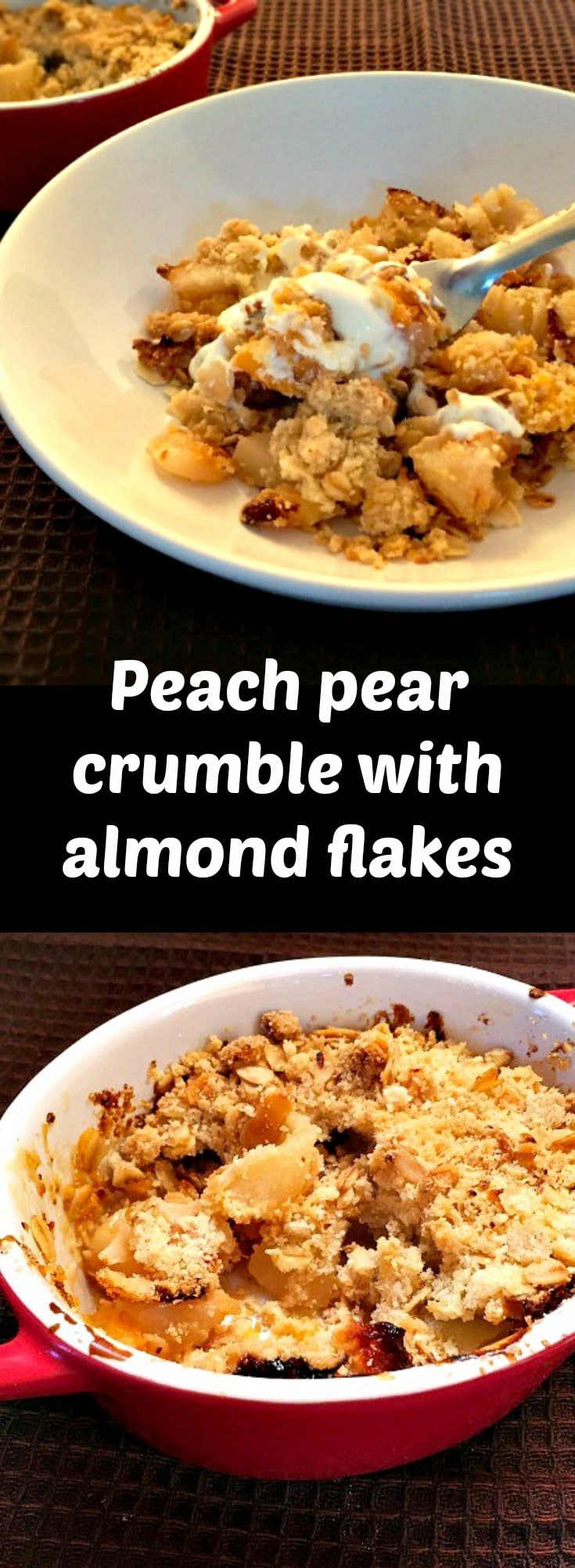 Peach pear crumble with almond flakes, a scrumptious British dessert that brings together soft juicy fruit and a crunchy almond oat topping. Beautufully moist and flavourful, this crumble is a family favourite dessert.