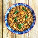 Hearty brown lentil soup