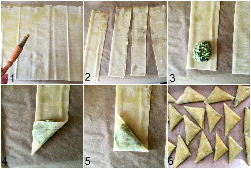 Step-by-step instructions how to fold the phyllo pastry for the spanakopita triangles