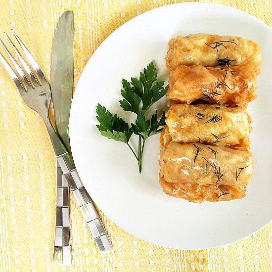 Romanian stuffed cabbage rolls with chicken and rice