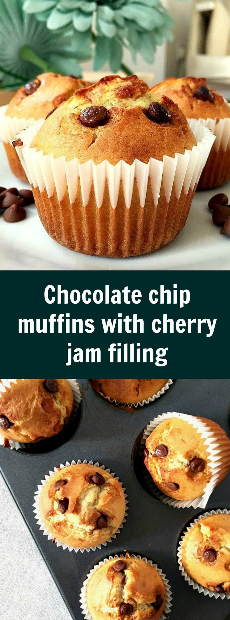 Homemade chocolate chip muffins with cherry jam filling, moist, deliciously golden, the perfect treat no matter the time of the day.